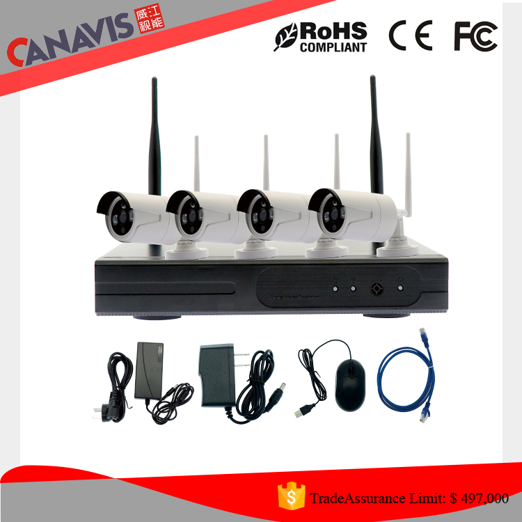 Newest 720P cctv surseillance 1MP 4 channel wireless wifi ip camera with nvr kit