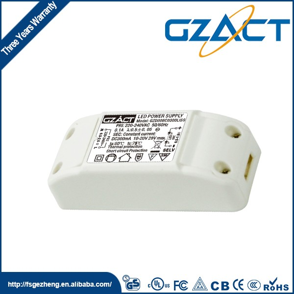 SAA CE TUV UL passed high efficiency led driver 350ma 6w for led strip light rgb