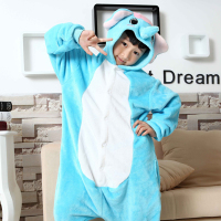 Walson 2015 Cheapest Winter animal Onesie pajamas jumpsuit kid blue elephant onesie