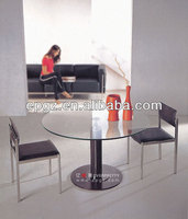 Glass Round Coffee Table,Small Glass Table for Meeting Room,Glass Table Round