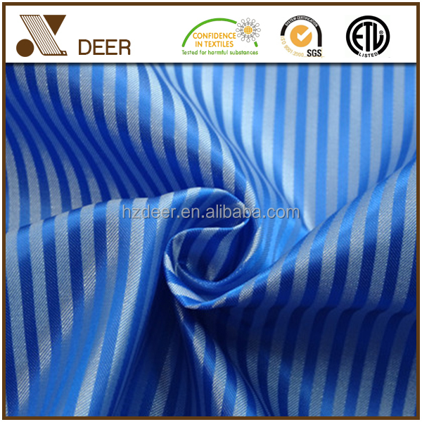 Custom 100% Polyester Woven Satin Stripe Blue And White Lining Fabric