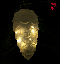 New design Christmas clear glass pine cone with LED light
