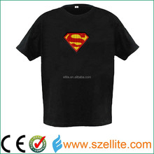 cheap price 180gsm sound sensor led light superman t shirt