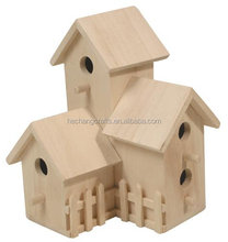 Cheap decorative wood carved bird houses, custom wood house crafts