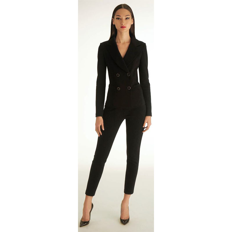 11.1   99   Women black tuxedo 2 piece set women business suit female office uniform ladies pant pants double breasted suits CUSTOMIZED