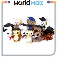 Top Selling Unique Shape Plush Animal With Doctorial Hat Cartoon Kid Girls Toys