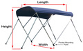 "Shademate Polyester 3-Bow Bimini Top, 6'L x 46""H, 61""-96"" Wide"
