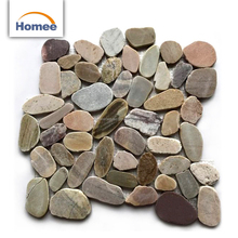 Mix Color Cheap Sliced Pebble Marble Outdoor Floor Tiles Mat Pebble Stone Mosaic Tiles