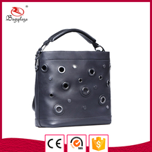 Bulk buy from China Hobo bag with gun metal black leather bags handbags