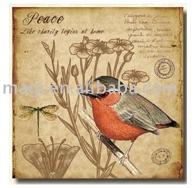 Bird and Nature Piece Wood Canvas Painting