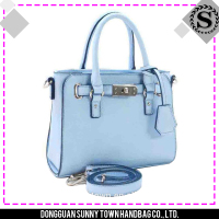 2016 sky blue mini promotional quilted leather tote bag