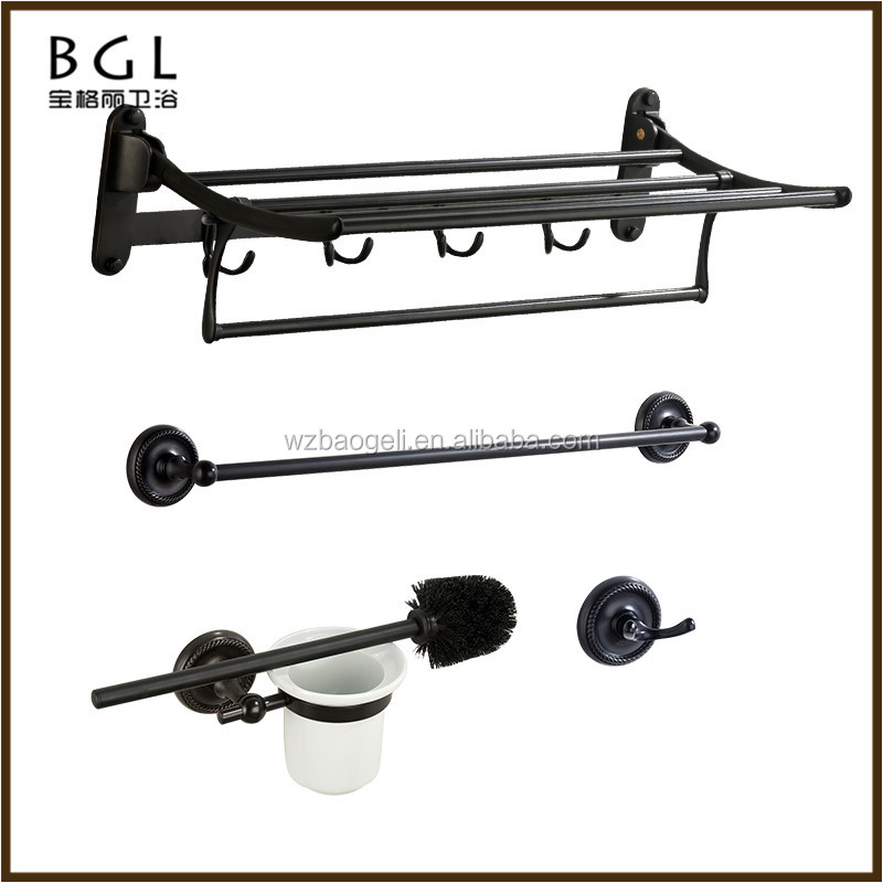 Popular Unique Design Matte Black Zinc alloy Polished ORB Wall Mounted Bathroom Sanitary Items Bathroom Fittings Set
