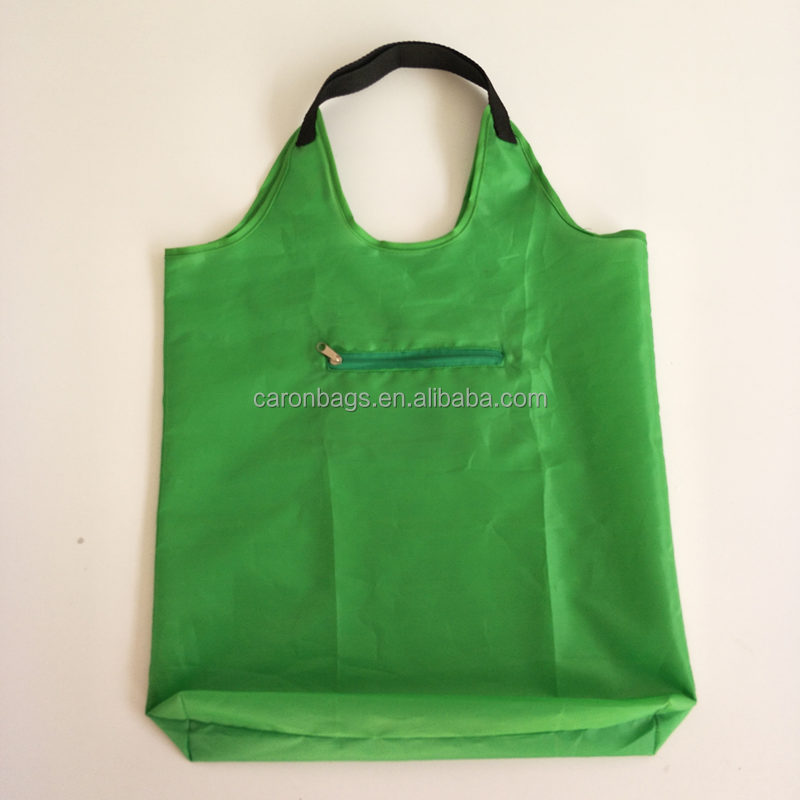 factory custom reusable 190t 210d polyester pocket foldable shopping tote bag with zipper