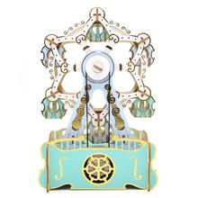 Christmas Customised Smart Furniture Music Box High Quality Ferris Wheel Musical Wooden 3D Puzzle