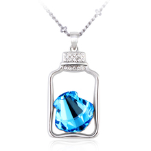 OUXI fashion jewelry shell 925 silver in Wishing Bottle pendant made with crystal/alloy rhodium plated necklace 10603