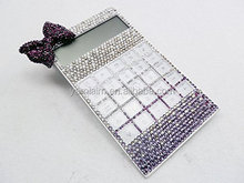 Purple Bowknot White Bling Diamond Crystal Solar Calculator Gift Fashion Office