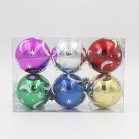 Wholesale price shiny with MOON & STAR pattern glitter dust paiting plastic Christmas balls 6pcs set