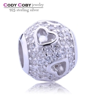 Hot Sale Heart Ball 925 Sterling Silver Shamballa Beads European Charms with White CZ pave bead Wholesale Jewelry Findings