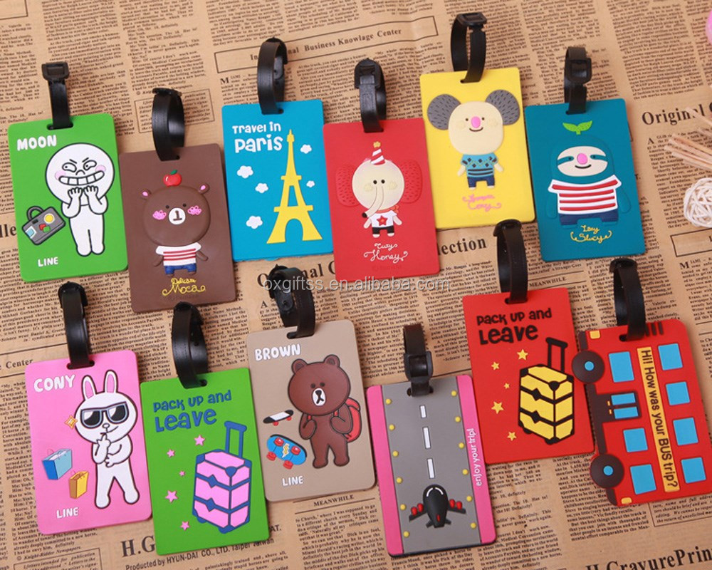 OXGIFT China Supplier Wholesale Factory Prices Amazon custom cartoon Leather silicone plastic rubber soft pvc luggage tag