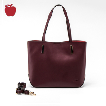 Casual Style Custom Logo Women Handbag Wine Red Genuine Leather Tote Bag