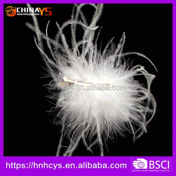 2017 new design hairgrips ostrich feather wedding hair clips popular for brides