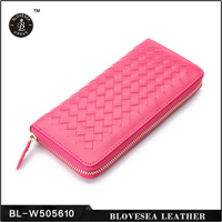 Weave Long Style Best Selling Wholesale Genuine Leather Woman Wallet