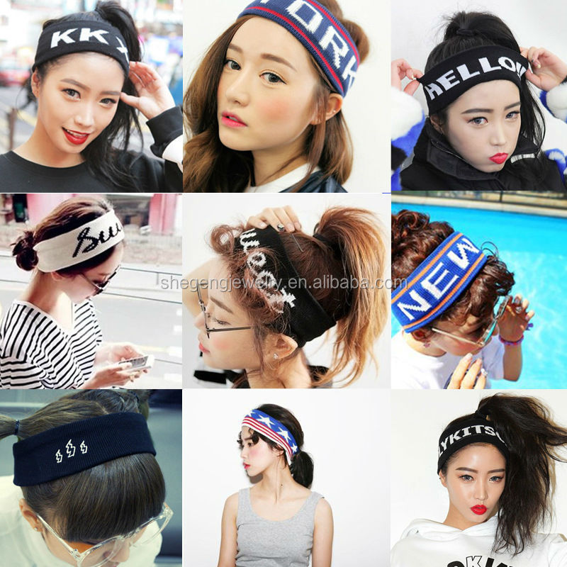 Women Girls Sport Casual Headband Personalized Letters