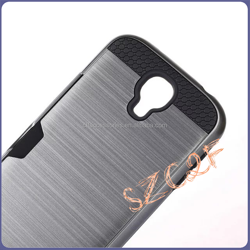 Wholesales wire drawing phone case with card pocket,protective mobile phone case for Samsung S4