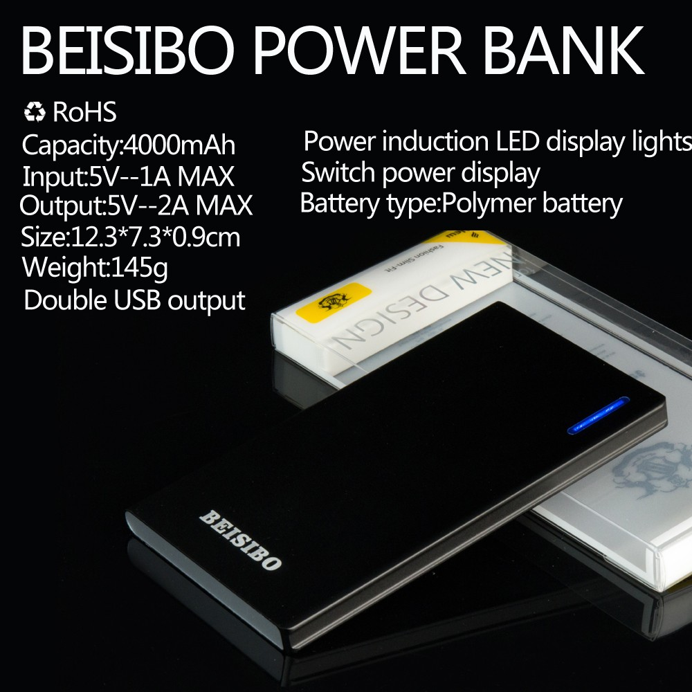 Ultra-thin lithium battery 4000mah lithium polymer battery portable charger power bank
