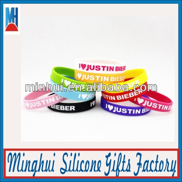 Cool Debossed Justin Bieber Silicone Bracelet with Sayings new product