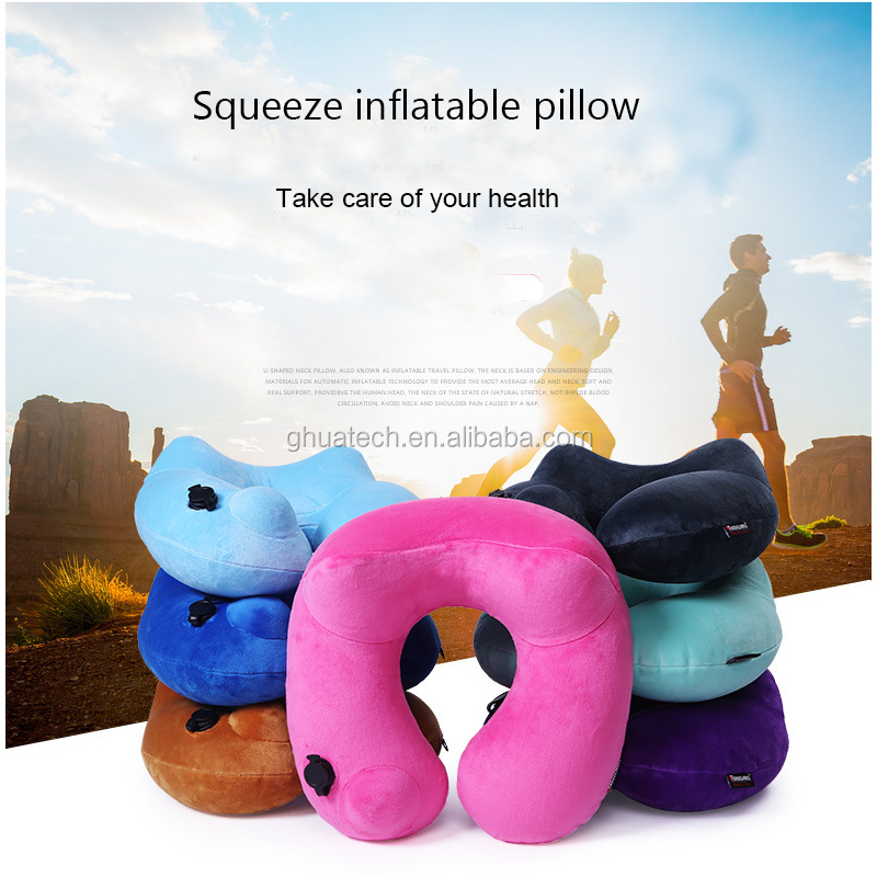 GH 2017 Newest Squeeze Inflatable Pillow with <strong>U</strong> Shape full air in via Press easy for sleeping take rest