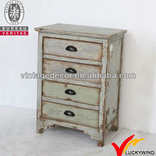 Rustic Old Distressed Bedside End Table Storage Drawer Nightstand