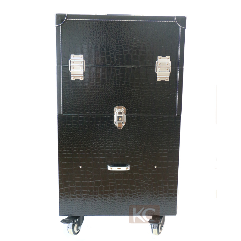 Beautiful design black pvc leather trolley make up box, new make up case, make up attache case