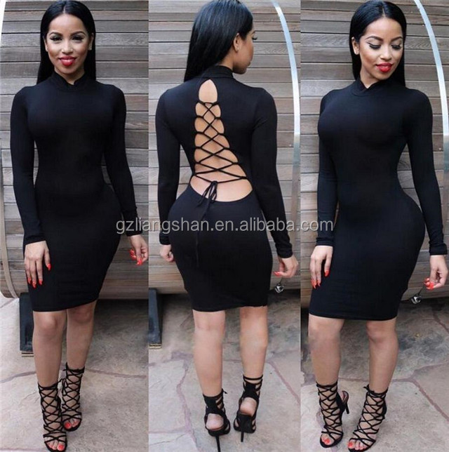 Bandage Dress 2015 Women Sexy Bodycon Dress Black Long Sleeve Backless Cocktail Club Party Sexy Dress
