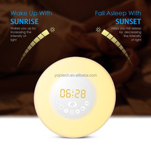 LED Wake UP Light Rechargeable Portable LED Alarm Clock with 7 Natural Sounds Sunrise Simulation Multi Light Modes