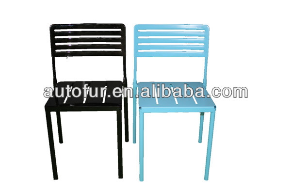 Stacking pure black high back garden metal chairs