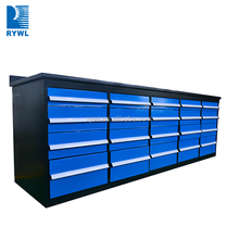 96 inch heavy duty roller tool chest/tool cabinet with drawer and wooden top