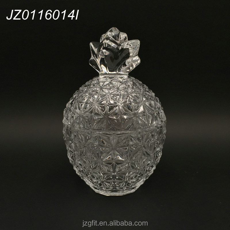 Wholesale factory price high quailty customized new pineapple design crystal glass candy jar/glass sugar pot with lid