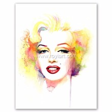 Handmade famous Marilyn Monroe portrait watercolor painting