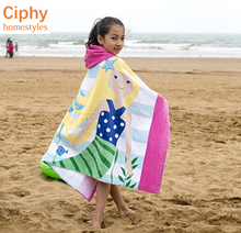 Children lengthened and thickened cotton velour terry hooded cape poncho