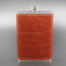 costom 9oz leather covered hip flask print your logo