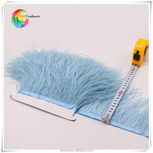 fashionable ostrich feather trimming dyed light blue natural ostrich feather trims fringe for skirt/dresses with satin ribbon