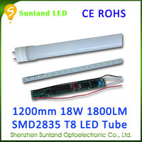 Long lifetime 3 years warranty 1800lm CE ROHS 18w 1.2m tube8 chinese sex led tube 8 china for kitchen