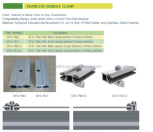 Solar frameless Mid clamp & End clamp Type