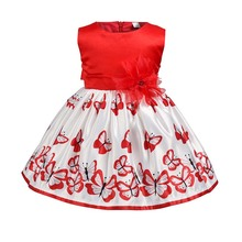 wholesale Baby <strong>girl's</strong> Full <strong>dress</strong> with butterfly pattern Fashionable cotton Comfortable and Soft Princess <strong>dress</strong>