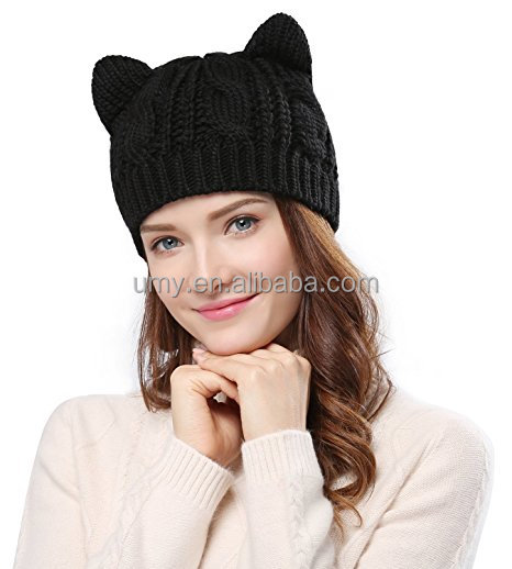 Women's Hat Cat Ear Crochet Braided Knit Caps