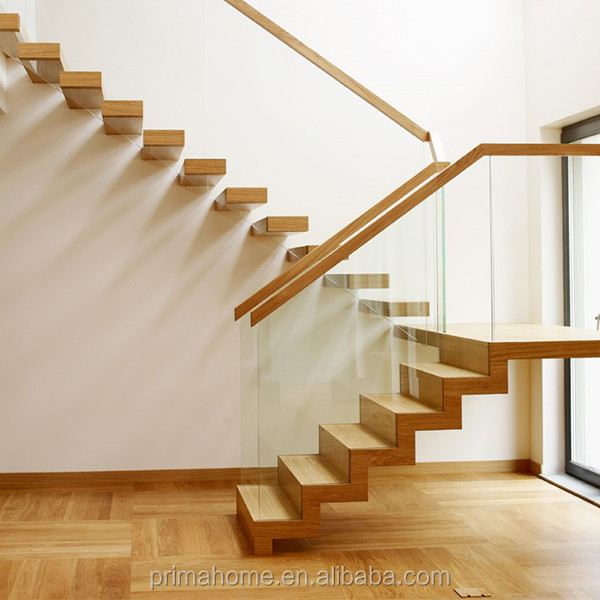 indoor Floating stairs with frameless glass balustrade and timber tread
