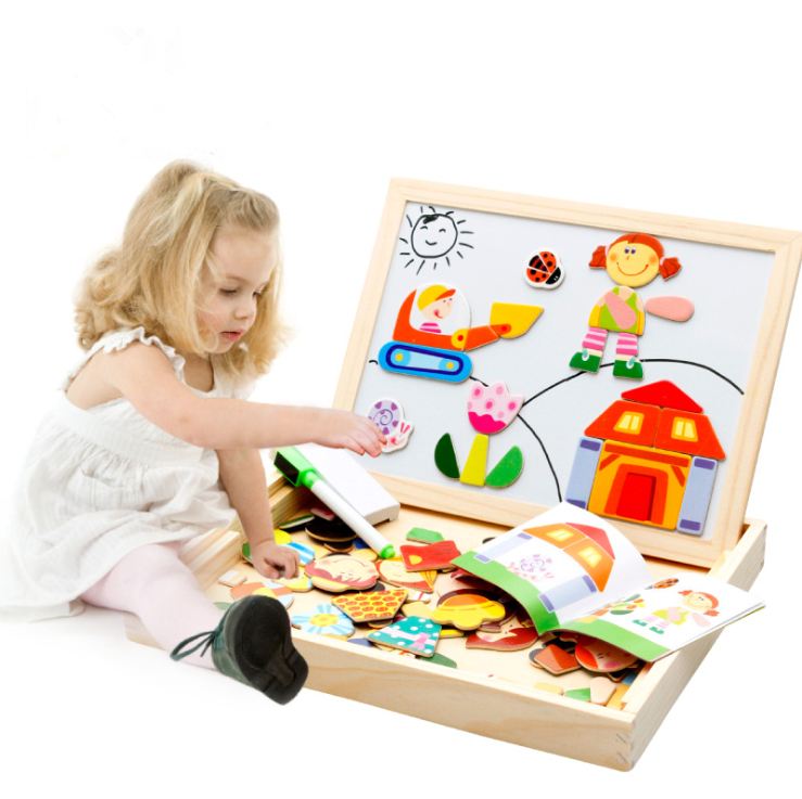 wooden puzzle toy factory Magnetic Easel Wooden Double-face Dry Erase Board Puzzle Games for Kids