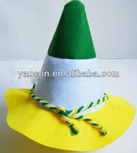 St Patrick Day's felt traffic cone hat with green/yellow/white twisted braids