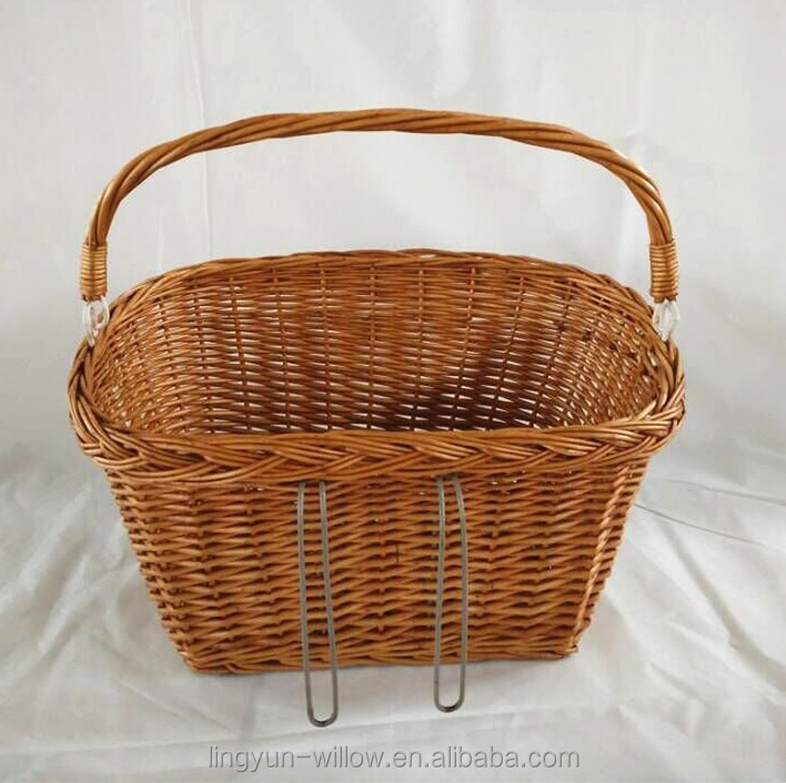 vintage outdoor wicker bicycle front basket for dog